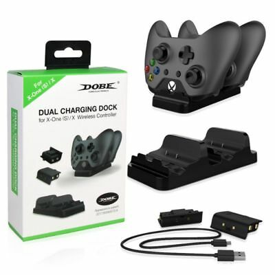 $12.99 • Buy For Xbox One /S Dual Charging Dock Controller Charger +2X Rechargeable Batteries