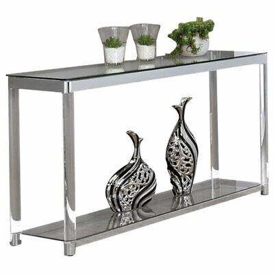$238.51 • Buy Pemberly Row 1 Shelf Glass Top Console Table In Chrome And Clear Acrylic