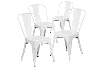$249 • Buy Set Of 4 White Metal Chairs Bistro Style Restaurant Patio Outdoor Furniture