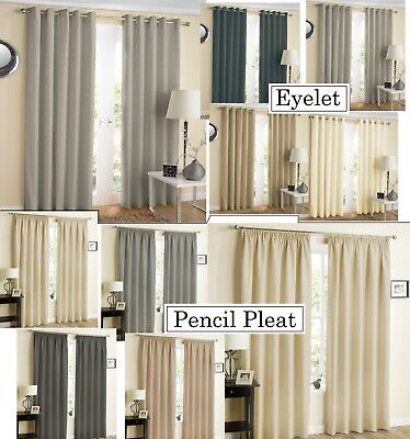 Hign Quality Eyelet & Pencil Pleat Heavy & Thick Thermal Blackout Curtains Pair  • 32.95£