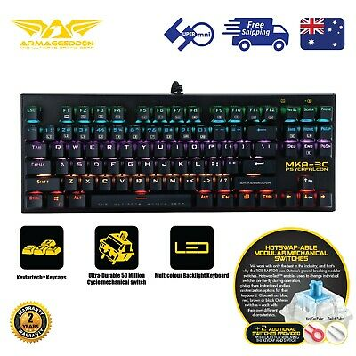AU49 • Buy Gaming PC Keyboard 87 Keys Mechanical Blue Switch Multi-Color ARMAGGEDDON MKA-3C