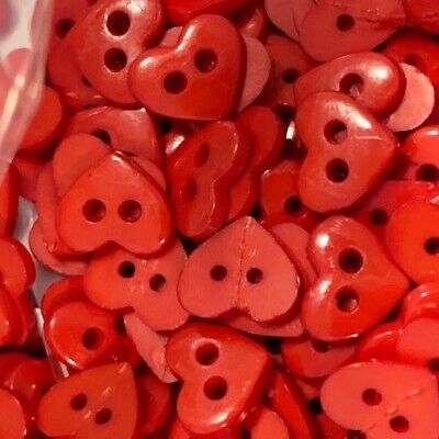$2.99 • Buy 25 7mm  Tiny Micro Small Heart Sewing Buttons Doll Making