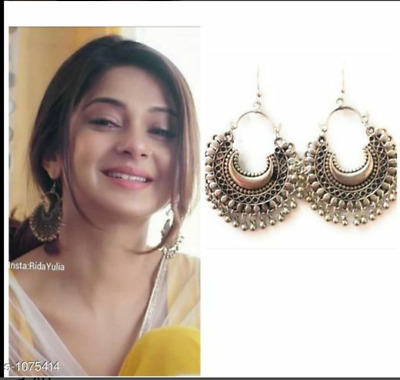 AU11.70 • Buy Indian Traditional Bollywood Silver Oxidised Kashmiri  Jhumka Jhumki Earrings