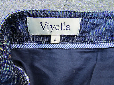 Size 8 W28  Blue Viyella Lined Skirt Tencel Fabric - Looks Like Denim Very Good • 8£
