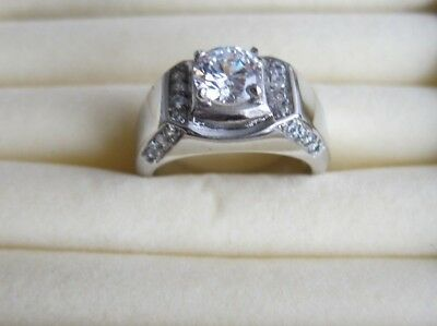 £15 • Buy Men's Silver Rings Clear CZ Or Blue Crystal - UK Size O; R & Q 1/2.