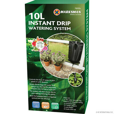 10L Instant Drip Water Gravity Fed Irrigation Plant Greenhouse System Water Kit • 7.05£