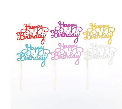 £2.20 • Buy Happy Birthday Gold Silver Purple Blue Pink Glitter Cake Topper Bling Party
