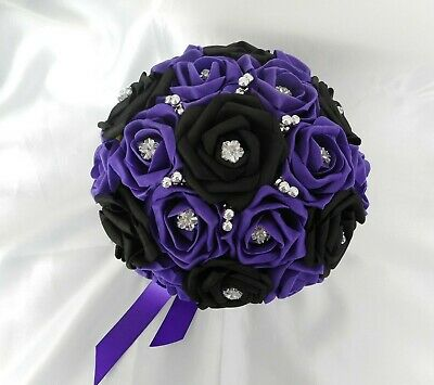 £25 • Buy Wedding Flowers Cadbury Purple & Black Bride Bridesmaid Rose  10  Bouquet Posy