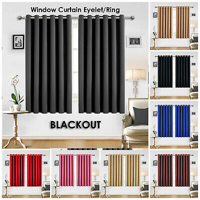 Ring Top Thermal Insulated Blackout Small Window Curtain For Bedroom Kitchen New • 19.99£