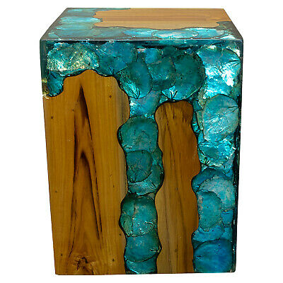 $329 • Buy Blue Resin Lucite And Teak Root Wood End Side Night Stand Table BRN15