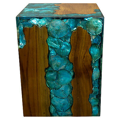 $329 • Buy Blue Resin Lucite And Teak Root Wood End Side Night Stand Table BRN16