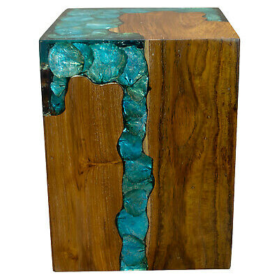 $329 • Buy Blue Resin Lucite And Teak Root Wood End Side Night Stand Table BRN19