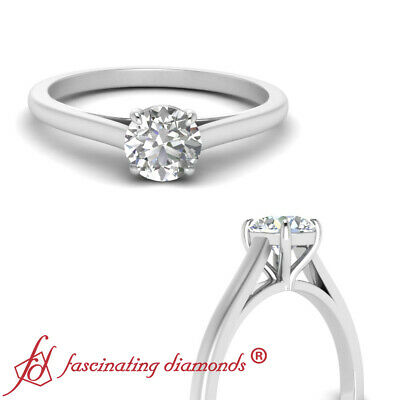 $ CDN2900.03 • Buy 1/2 Carat Round Cut Diamond Cathedral Style High Set Solitaire Engagement Ring