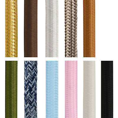 Fabric Flex Cable 3 Core Round 0.75mm Ideal For Pendant Lighting And Lamps • 3.49£