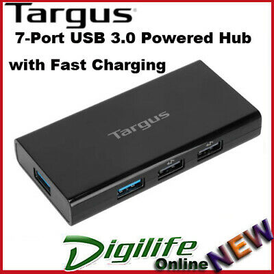 AU79.89 • Buy Targus 7 Port USB 3.0 Powered Hub With Fast Charging ACH125AU