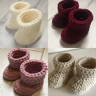 Handmade Crocheted/Knitted Baby Cuffed Booties 0-3,3-6 & 6-9 Various Colours • 4.99£