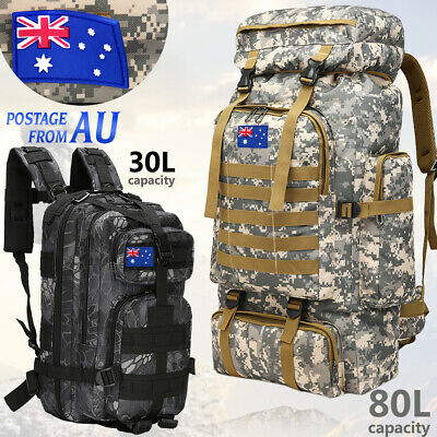 AU28.49 • Buy 30L/40L/80L Military Camping Hiking Bag Army Tactical Backpack Rucksack Travel