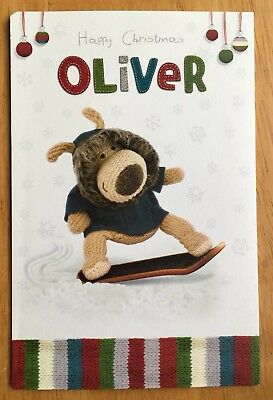 £2 • Buy 'Oliver' Boofle Personalised Pop Out Christmas Card - 7.25 X4.75  - Named - Xmas