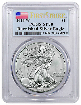 $77.95 • Buy 2019 W 1 Oz Burnished American Silver Eagle PCGS SP70 FS Flag Label SKU58007
