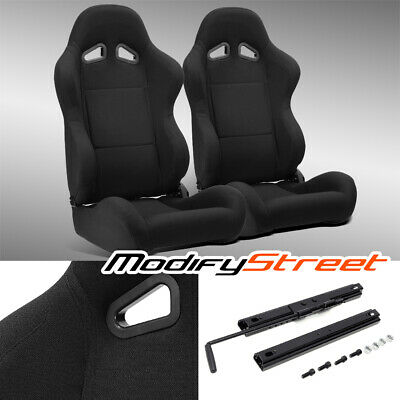 $308.99 • Buy 2 X BLACK PINEAPPLE SEAT FABRIC LEFT/RIGHT SPORT RACING BUCKET SEATS + SLIDER