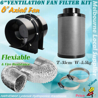 AU189 • Buy Hydroponics Silent 6  Inline Exhaust Fan Carbon Filter Ducting Ventilation Kit