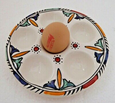 £10.99 • Buy Hand Painted Ceramic Round 6 Eggs Storage Tray* Safi Pottery *