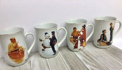 "$ CDN40 • Buy Norman Rockwell Coffee Mugs ""Grand Pals"" Set Of 4 Coffee/tea Mugs"