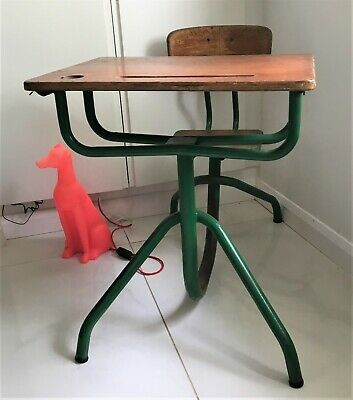 Mid 20th C French Vintage Industrial School Desk & Chair Unit Jean Prouve Style • 150£