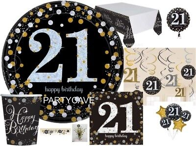 21ST GOLD Celebration Birthday Party  Balloons Tableware Decorations Supplies • 2.89£