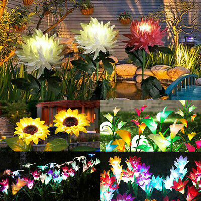 4 LED Solar Power Lily Flower Stake Lights Outdoor Garden Path Luminous Lamps • 9.99£