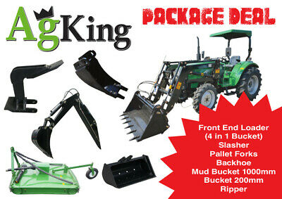 AU28600 • Buy 40hp Tractor For Sale - Tractor Package Deal (FEL + Backhoe + Slasher + Forks)