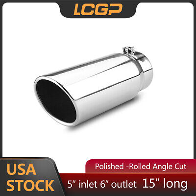 "18/""Long 4/""Inlet Exhaust Tip Stainless Steel 6/""Outlet Polished Diesel Bolt On"