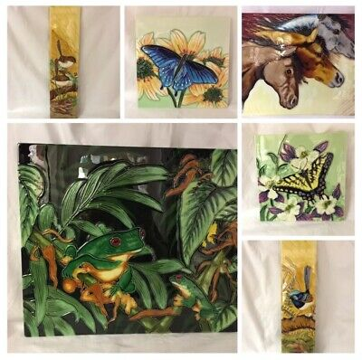 £20 • Buy VINTAGE Ceramic Picture Tile BUTTERFLY BIRDS HORSES FROGS Various Sizes