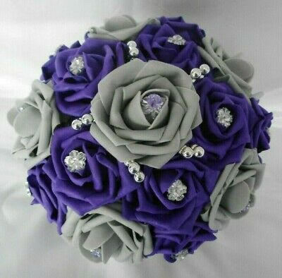 £22 • Buy Wedding Flowers Cadbury Purple & Grey Rose Bridal Silver Wedding Bouquet Posy