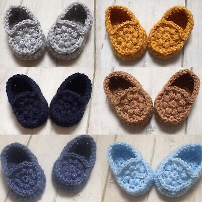 Handmade Crocheted/Knitted Baby Booties/Loafers Newborn & 0-3 Months • 4.99£