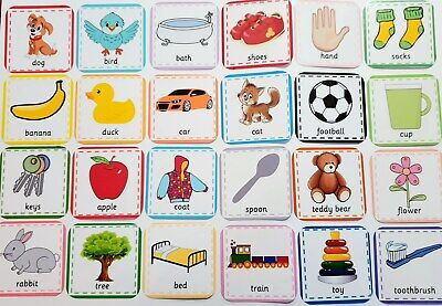 £3.44 • Buy FIRST WORDS FLASH CARDS- Picture & Word - Toddler - Baby - First Learning Set