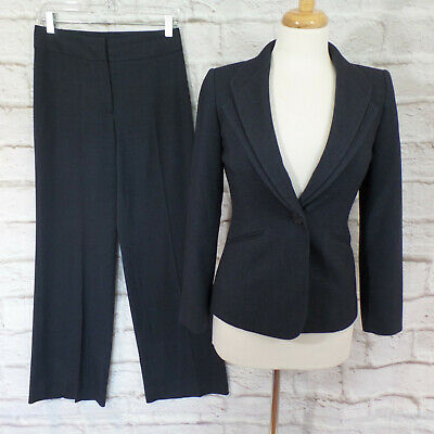 4ce2005797703 Tahari Career Navy 2 Pc Double Notched Collar Pant Suit Size 2P • 36.99$