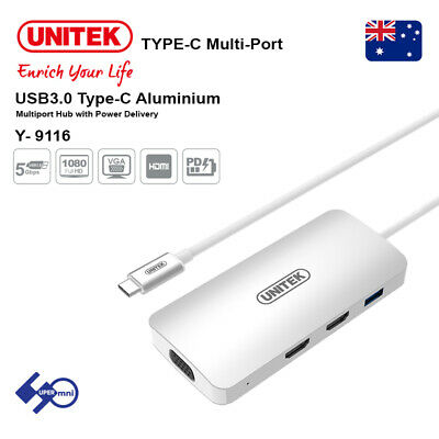 AU59.95 • Buy Unitek USB Type-C Dock With HDMIx2/VGA/USB Multi-Port Hub Support 3 Display