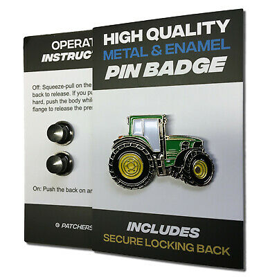 Large Green Tractor Metal & Enamel Pin Badge With Secure Locking Back • 4.25£