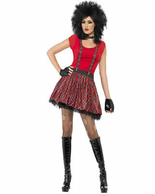 AU32 • Buy Punk Rocker Kit Costume 80's Tartan Tutu Skirt Braces One Size 80s Fancy Dress
