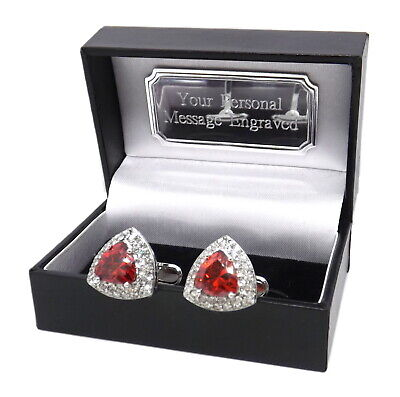 £29.99 • Buy Triangle Cufflinks With Ruby Red Swarovski Crystal Personalised Mens Gift