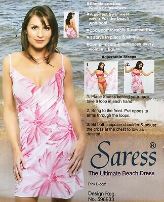 Saress The Ultimate Beach Dress Uk 14 16 Cover Up Swim Wrap Sarong Kaftan Pink • 5.99£