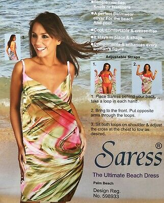 Saress The Ultimate Palm Beach Dress Uk 14 16 Cover Up Swim Wrap Sarong Kaftan • 5.99£