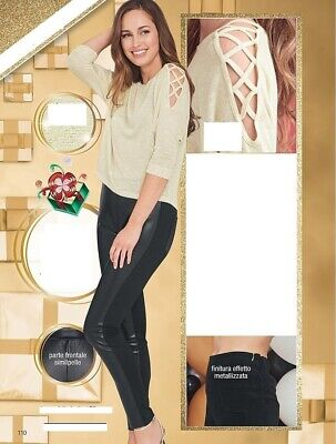 Faux Leather Front Ladies Jeggings BNIP • 18.75£