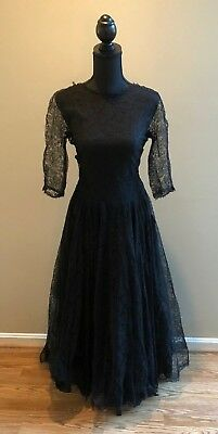£35.45 • Buy Vintage 50's Black Lace Gown - Long, Full Skirt GORGEOUS!
