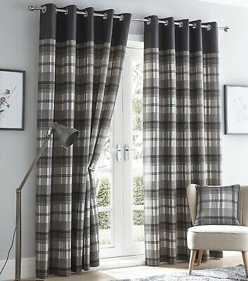 Tartan Check Lined Curtains Eyelet Ring Top Curtains 66x72  183cm Charcoal Grey • 26.95£
