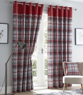 Tartan Check Lined Curtains Eyelet Ring Top Curtains 66  X 72  183cm Red & Grey • 26.95£