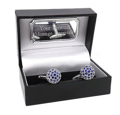 £29.99 • Buy Ball Cufflinks With Sapphire Blue Swarovski Crystals Personalised Mens Gift