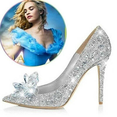 Silver Cinderella Wedding Party Diamond Pumps Crystal High Heels Shoes UK2.5-7   • 16.99£