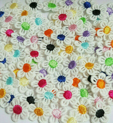 TINY WHITE GUIPURE LACE DAISY COLOUR CENTRE MOTIFS SEW ON FLOWER APPLIQUES 15mm • 1.70£